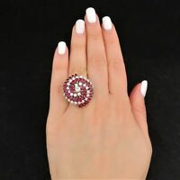 Oversized Vintage Diamond Ruby 18k 14k Gold Cocktail Dome Ring Retro Estate Gift