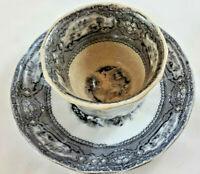 1840 T. GOODFELLOW ALLEGHANY BLACK TRANSFERWARE IRONSTONE HANDLESS CUP & SAUCER