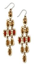 LUCKY BRAND Faceted  Crystal Jade Multi Stone Gold-Tone Chandelier Earrings $49
