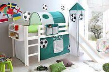 Lit mezzanine avec toboggan et tour KASPER Pin teinté blanc tissus football