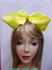 yellow Handmade huge Big Girl Extra Large  JUMBO Satin clip Hair Bow