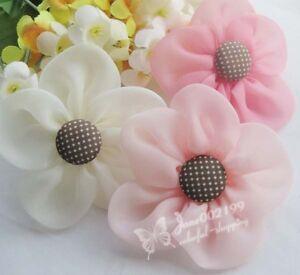 21pcs New Organza Ribbon Flowers Bow Wedding Decor Sewing Appliques Crafts RB128