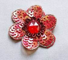 5 Hand-Beaded Appliques. Red Flowers. Sequins