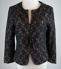 Odille Size 6 Lace Jacket Tie Front Black Pink Anthropologie