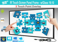 "LCD/LED 2 Touch IR Overlay Touch Screen Frame Panel 22"" - w/ Glass 16:10"