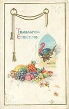 Thanksgiving Greetings Postcard Gold Medal Arts Embossed Turkey Midland Publish