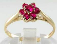 DAINTY 9K 9CT GOLD INDIAN RUBY DAISY ART DECO INS RING FREE RESIZE