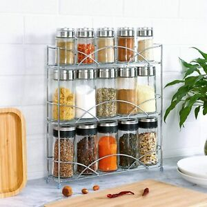 FREESTANDING 3 TIER SPICE RACK WALL MOUNTED OR TABLETOP HOME KITCHEN ORGANISER
