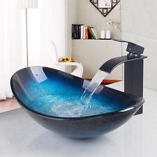 AS Oval Glass Basin Bathroom Vessel Vanity Sinks & Black Mixer Faucet& Drain Set