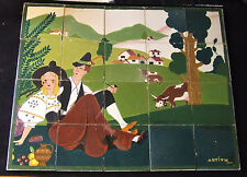 Italian Art Deco Tile Panel Lovers Picnic w Cows Antium Industria Ceramic Veggia