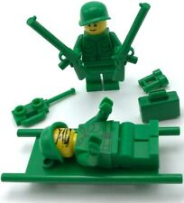 LEGO 2 NEW ARMY MINIFIGURES WORLD WORLD 1 2 WITH GUNS AND STRETCHER PIECES