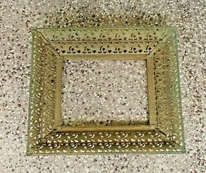 VINTAGE OLD ORNATE TIN METAL PICTURE FRAME- 15 1/2 BY 14