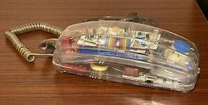 VINTAGE Retro Alaron See Through Transparent Push Button Phone T-2522/T 1980s