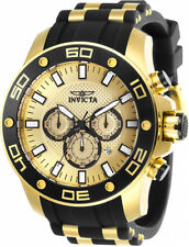 Invicta Men's Pro Diver Chrono 100m Gold Tone S. Steel Silicone Watch 26088