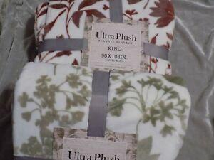 Ultra Plush Flannel Blanket King 90x108 Soft Warm Cozy Foliage Pattern NEW!