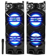 "Pair Technical Pro Dual 10"" Powered 3000w Bluetooth Speakers w/USB/SD/LED+Mic"
