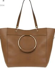 Monsoon Accessorize Marlene Metal Ring Tote Bag Tan Brown Pu Leather Bnwt