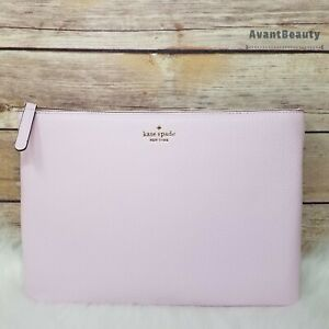 NEW KATE SPADE JACKSON LARGE ZIP POUCH CLUTCH Serendipity LEATHER HANDBAG lilac