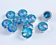 12 Swarovski Special Ultra Blue AB Sew On 12MM Rivoli Chaton Rhinestones #1122