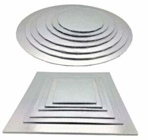 Quality Silver Round Cake Display Boards Foil Turned Edge 2mm Thick ALL SIZES
