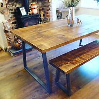 Industrial Style Dining Table and Bench Set