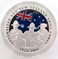 .2005 .999% FINE SILVER 31.1g COLOURED $1 PROOF. ANZAC SPIRIT + SPEC CARD.