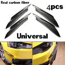 Universal 4 Pcs Real Carbon Fiber Front Bumper Canard Splitter Canards Exterior