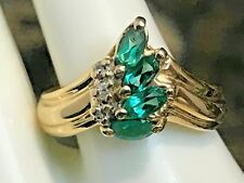 14K GOLD .50 CARAT CHATHAM EMERALD & DIAMOND RING  3.29 GRAMS+ RING BOX SIZE 6.5