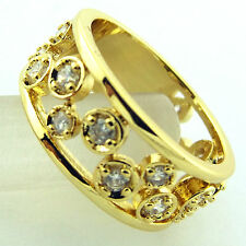FSA536 GENUINE REAL 18CT YELLOW G/F GOLD DIAMOND SIMULATED ANTIQUE DESIGN RING