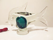 Murano Art Blown Glass Fish Sculpture Sommerso Italy