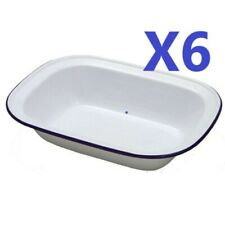 6 x Falcon 20cm Oblong Pie Dish - Enamel - Ideal for camping or home  [0114]
