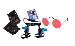 Lara Croft Tomb Raider Style Gloves Red Glasses & Twin Guns Set Fancy Dress