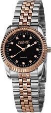 August Steiner AS8046TTR Diamond Markers Black Dial Twotone Womens Watch