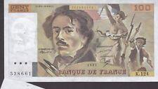 RARE Billet 100 F Delacroix 1987 FAY 69.11 Alph. K.124 FAUTÉ avec appendice