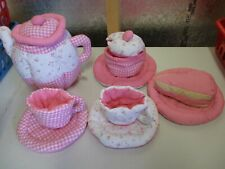 Preschool Tea Set Cloth Pink Quilted Floral Gingham Print Soft Lillian Vernon
