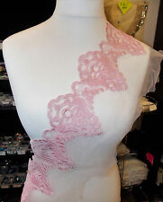 21cm wide light PINK embroidered tuile lace bridal wedding dress prom trim net1