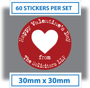 60 x Personalised Happy Valentines Day Stickers Card Labels Seals 30mm Red