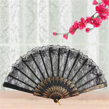 Black Spanish Style Dance Party Wedding Lace Silk Folding Hand Held 'Flower Fan