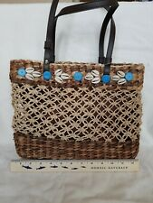 NEW - Nine West Purse Tan, Brown & Beige Woven Straw embellished with Sea Shells