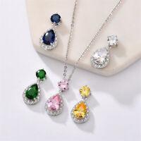 Teardrop Multi Natural Shiny Amethyst Citrine Peridot Gems Silver Charm Necklace