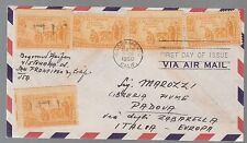 BUSTA USA AIR MAIL POSTA AEREA  1950 DA SACRAMENTO A PADOVA RETRO ANNULLO ERP