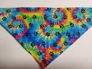 Dog Bandana, OVER THE COLLAR, Size S,M,L,XL, Tie Dye Swirl/Paw Prints!