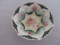 """Antique R.S. Prussia Germany Bowl With Painted Roses 9 1/2"""" Diameter x 3"""" High"""