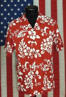 Rare VTG Made Hawaii Hawaiian Shirt Aloha Floral Tropical KY's Red Hibiscus M HI