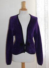 FIBER ARTIST Fern Wayne -Sz S M Electric Purple Chenille Hand-Woven Jacket Artsy