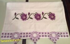 Bath towel With Beautiful Purple, Green, And Silver Embroidery.2 Items Available
