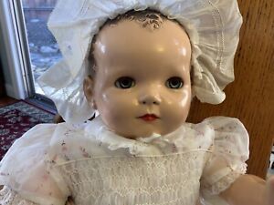 "Vintage IDEAL PLASSIE DOLL/Hardplastic,Compo,Cloth;24""blue eyes;crier works 1946"