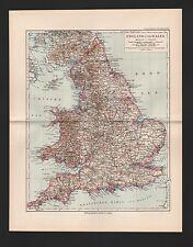 Landkarte map 1892: ENGLAND UND WALES. Durham York Stafford Suffolk Devon Denbig