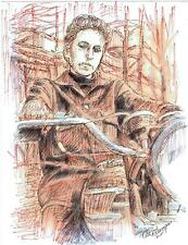 BOB DYLAN  by Ruth  Freeman INK ON WATER COLOR PAPER 8 1/2 X 11