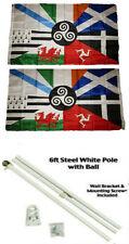 3x5 Celtic Nations Irish Provinces 2ply Flag White Pole Kit Gold Ball Top 3'x5'